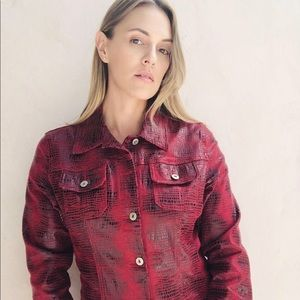Guess jeans red snake print vegan leather jacket